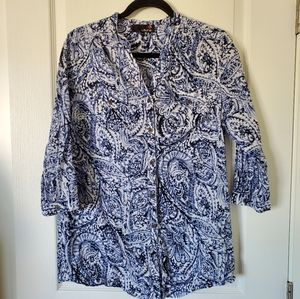 🌵LAURA Paisley Button Up Tunic Size L